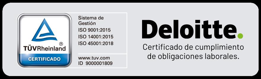 Logo de certificación Deloitte que permite que nuestros clientes obtengan un certificado de cumplimiento de obligaciones laborales y logo TÜVRheinland con certificación ISO 9001:2015, 14001:2015 y 45001:2018