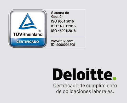 Certificaciones ISO 9001:2015, ISO 14001:2015, ISO 45001:2018, y certificado de cumplimiento de obligaciones laborales Deloitte.